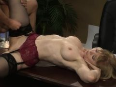Passionate patriotic sex act in electoral office with blonde MILF mom Nina