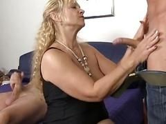 XxxOmas - Mature blondie gets her pussy pounded hard in German 3some