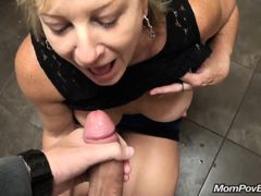 European milf sucks dick in bathroom