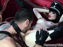 Brunette bitch gets her cunt fucked hard and deep