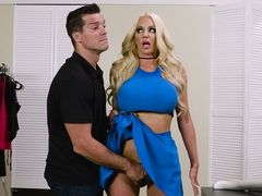 Blonde with big boobs Nicolette Shea gets pussy licked and fucked hard