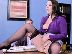 Super busty secretary seduces her boss in the office