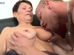 Grandma suck and fuck young boy's cock