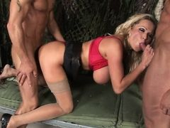 Blonde gets pussy, ass and throat sandwiched by two dudes
