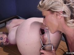 Pale heavy-breasted lesbian assfucking had sex lezdom