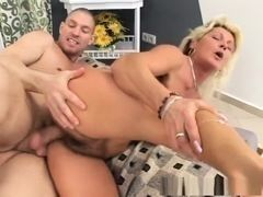 Teen dude drills aging blonde with hairy cunt