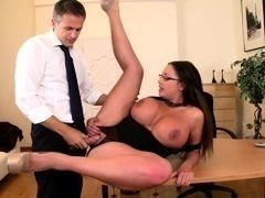 Magnificent secretary with huge hooters Emma Butt fucks on table with boss