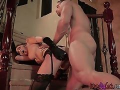 Sexual mistress Ariana Marie fucks with the brawny driver on ladder
