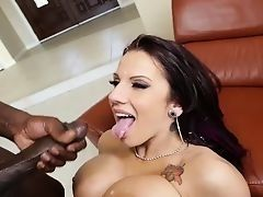 Busty Lylith Lavey is fucked with big black dick and gets cum in mouth