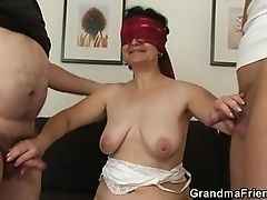 Blinded granny tests two cocks