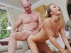Old man fucks doggystyle young pregnant blonde
