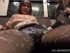 Japanese slut all is covered with cum after trip by train
