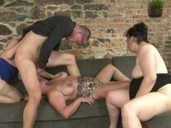 Three mature sluts share big young dick