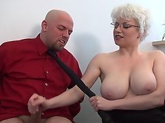 Brutal femdom handjob at office from busty milf