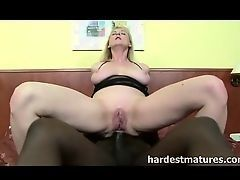 Huge black dick inserted into ass to busty mom
