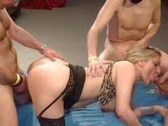 Mature bitch fucked with three guys
