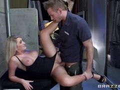 Blonde with big tits fucks on table at office