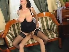 Sexual mature slut with the drooped tits and hairy pussy