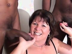 British mature female sucks black cocks