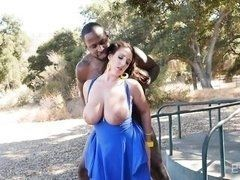 Lewd Angela White with massive melons fucks with the huge Black outdoors