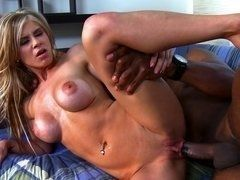 Busty milf blonde enjoys big black sausage