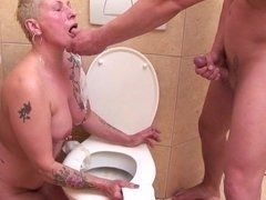 Mature slut will try golden shower and cock in toilet sucks