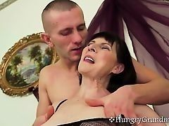 Dark-haired granny receives good fuck