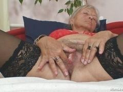 Old blond slut, fingered the vagina