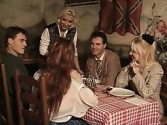 Vintage group sex with mature women in tavern