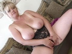 Masturbation of mature woman with big tits