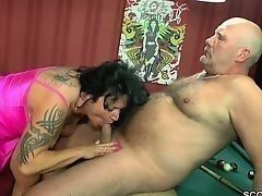 Mature slut greedy sucks to elderly man like the last time