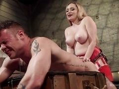 Bad guys will be strictly punished by busty mature blonde with strap-on