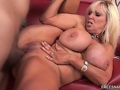 Young Black drills big dick old blonde with massive melons