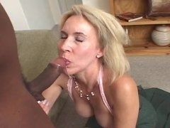 Elderly blonde with big melons likes big black dick
