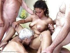 Gabrielle is fucked by three old men