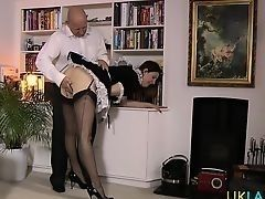 Mature British maid tempts striptease dance and solo the bald rich owner