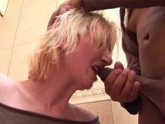 Porn clip as black cock enters mouth to mature blonde