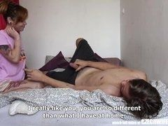 Dissolute milf sucks at the stepson in bedroom in the morning