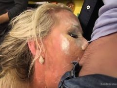 Guys covered cum to mature mom all face