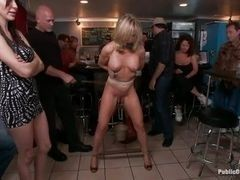 Mature pornstar humiliated in the bar