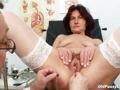 Granny in stockings doctor during medical examination fingers cunt and anal rosebud