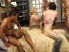 Hot tattooed guys hardly drill experienced slut with huge juggs