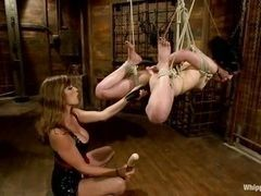 Severe mistress does not show mercy to the tied up slave