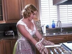 Curly-headed busty milf fucks in kitchen