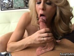 Hot mom Angela Attison greedy sucks away to young guy