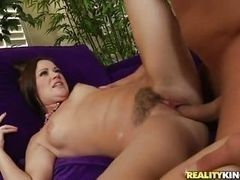 Black hairy sexual milf, gets fucked on couch