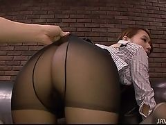 Rupture of her stockings to fuck her