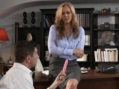 Beautiful blonde milf fucks at office