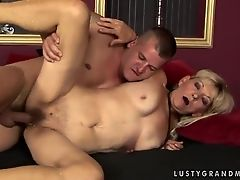 Mature lady Irene is sucking hard dick