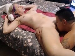 son eats milfs pussy makes her cum and she gives him foot job with creampie
